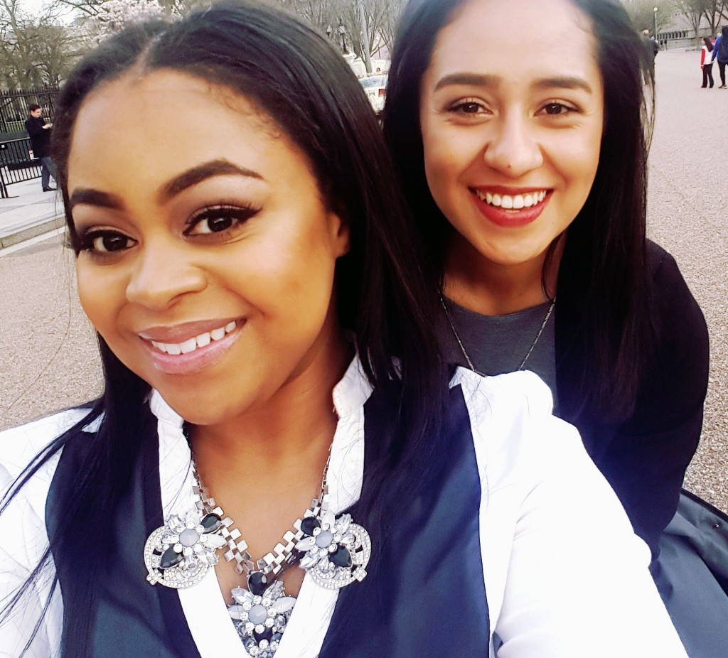 UM-Flint Communication Major Tajhae Barr in Washington, D.C., with an intern for the National Conference of State Legislatures.