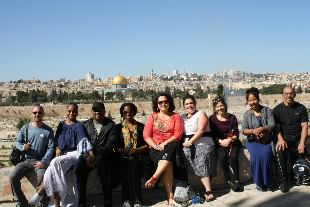 The Detroit Education Delegation on the Mount of Olives in Jerusalem with the Temple Mount and Dome of the Rock behind.