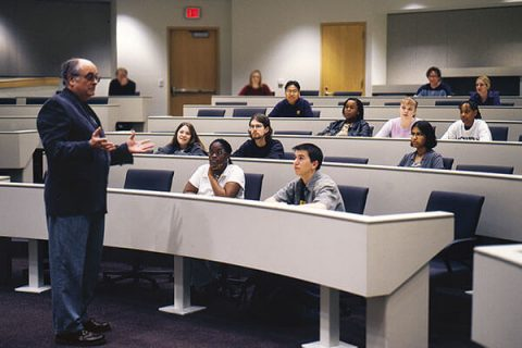 Bob Stach speaking to a class