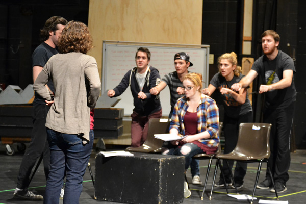 "Stephanie Dean and the ""Next to Normal"" cast rehearse in the UM-Flint Theatre"