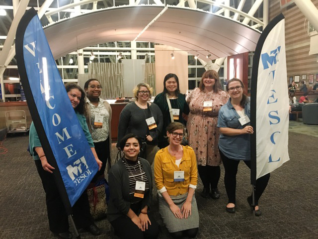 Emily Feuerherm, PhD, (front row, right) and her TEL 313 students at the 2017 MI-TESOL Conference