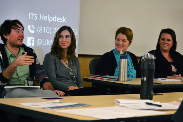 Brandon Taylor (left) joins fellow UM-Flint Psychology alums at a career panel for current students