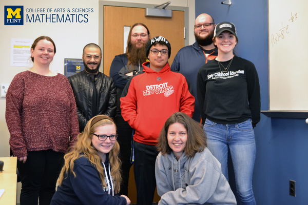 Laura McLeman, associate professor of UM-Flint Mathematics (front right) with some of her MTH 272 students