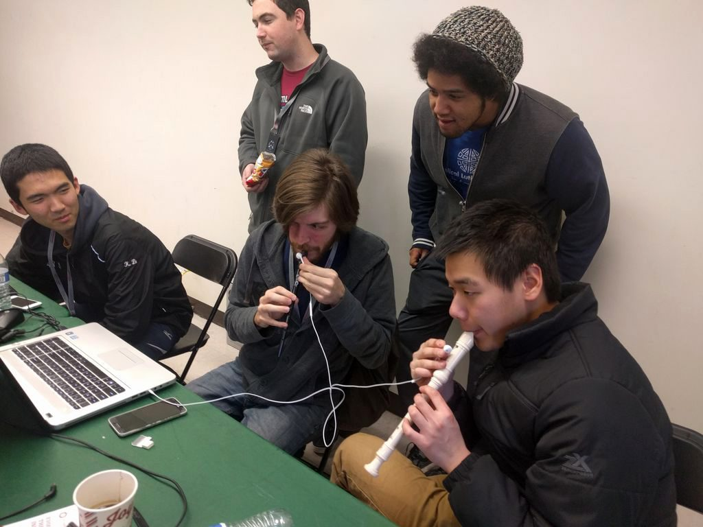 Team SonicPlayers, including UM-Flint Computer Science students Cole Rauh and Alex Latunski, at SpartaHack IV.