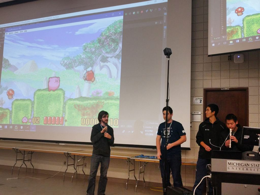 Team SonicPlayers demonstrates their app at SpartaHack IV.