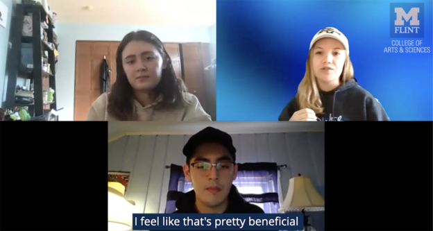 a screenshot of a zoom meeting with three students