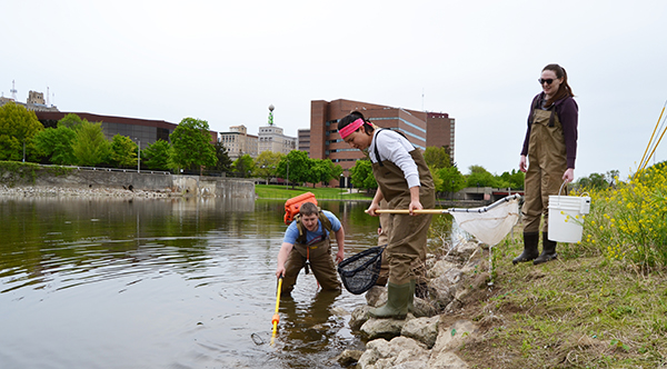 a group of students collecting fish from the Flint River