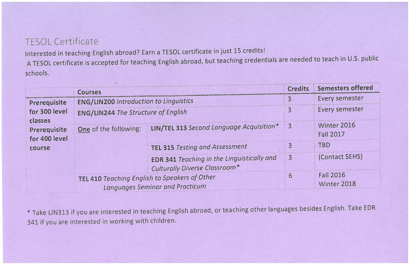 Umflint English  Tesol Certificate Purple Handout
