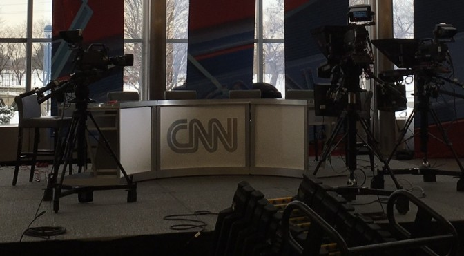 CNN Sets Up for Broadcast from Thompson Library