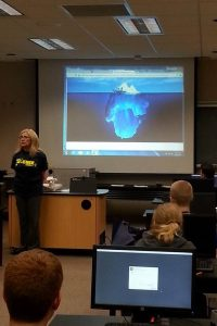 Students of librarian Laura Friesen's class learn about icebergs, the internet, and scientific investigation. And of course, about recording findings and sharing them with other researchers through publication! She IS a librarian, after all.