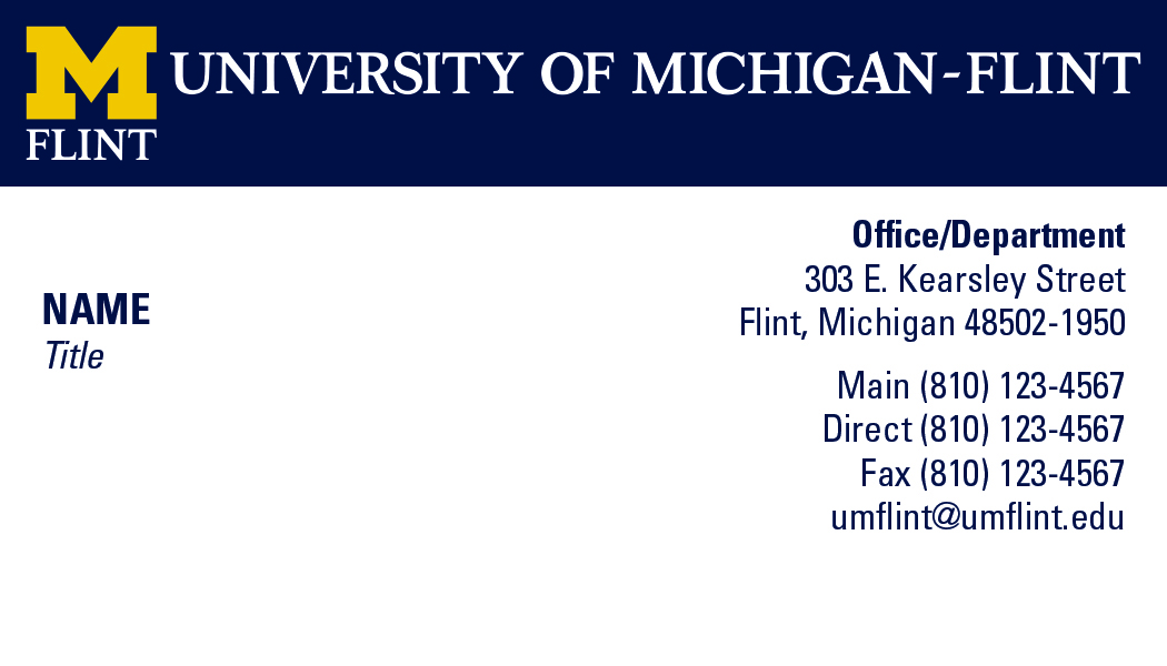 New um flint business card and stationery um flint university stafffacultybuscard colourmoves
