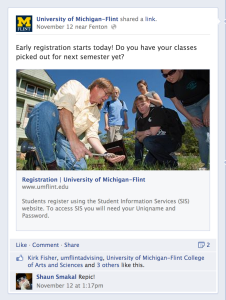 UM-Flint Facebook post featuring civic engagement courses