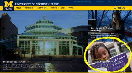 Screen shot of UM-Flint homepage with event highlighted