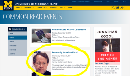 Screen shot of the page linked to from previous homepage example of promoted event.