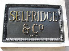 Plaque on the Selfridge's building